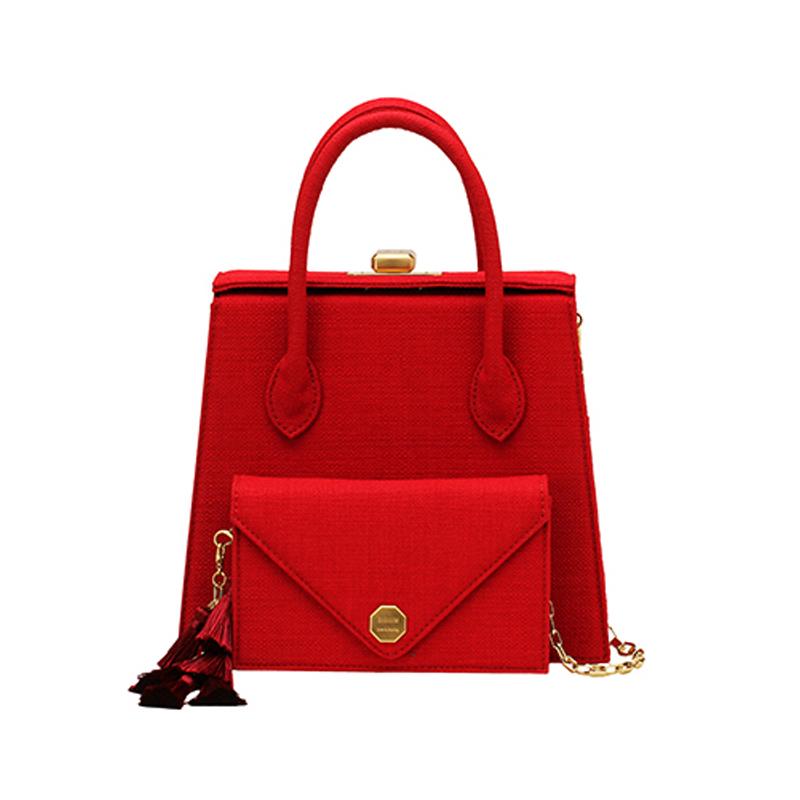 【直邮】SISISM 设计师品牌 多功能DIY女包手提包-惊艳红