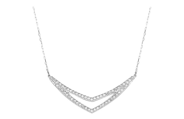 SWAROVSKI/施华洛世奇 Alpha双V几何造型白金色水晶项链