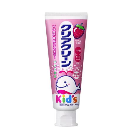 【直邮】日本KAO/花王婴幼儿牙膏可吞咽食含颗粒木糖醇草莓味70g